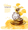Honey background with hand drawn sketch vector