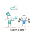 Sports doctor gives a healthy meal to the person vector
