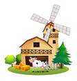 A cow in front of the barnhouse vector
