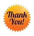 Thank you sticker  orange tag icon vector