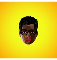 With a black female face with eyeglasses polygonal vector