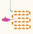 Pink fish taking a risky different wayidea concept vector