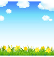 Flower meadow with grass and cloud vector