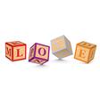 Word love written with alphabet blocks vector