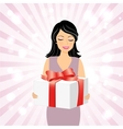 Smiling girl with gift box vector