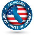 California state blue label with state map vector