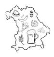 Map of bavaria with oktoberfest symbols vector