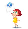 Girl with email envelope vector
