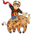 Man bull rodeo isolated vector