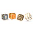 Word rent written with alphabet blocks vector