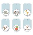 Cartoon animals labels set vector