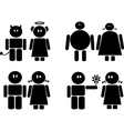 Black icons of couples vector