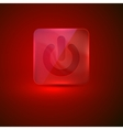 Red glass button with power icon vector