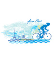 Cycling in paris - grunge poster vector