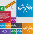 Race flag finish icon sign metro style buttons vector