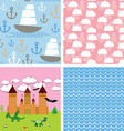 Set 3 seamless background castle fairytale vector