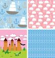 Set 3 seamless background castle fairytale vector