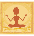 Silhouette of a girl in yoga pose - grunge vector