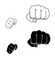 Clenched striking man fists in fight stance black vector