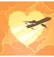 Plane flies through the clouds in shape of heart vector