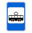 Road sign tram stop vector