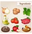 Set of food icons ingredients vector
