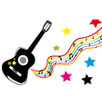 Guitar with colored stars vector