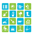 Silhouette gardening tools and objects icons vector