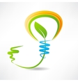 Light bulb with leaf inside design element icon vector