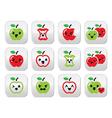 Cute red apple and green apple kawaii buttons set vector