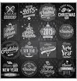 Christmas emblems set chalkboard vector