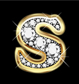 Letter s gold and diamond vector