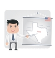 Man with a pointer points to a map of texas vector