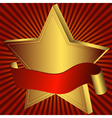 Gold star with red ribbon vector