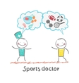 Sports doctor speaks to man of sport and healthy vector