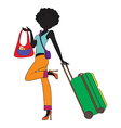 Young woman with suitcase vector