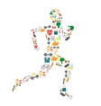 Running man silhouette filled with sport icons on vector