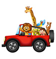 Animals and car vector