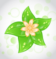Cute eco background with green leaves and flower vector