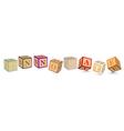 Word innovate written with alphabet blocks vector