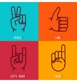 Set of outline icons - gestures and signs vector