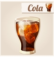Glass of cola with ice detailed icon vector