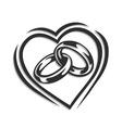 Wedding ring in heart vector