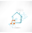 House music grunge icon vector