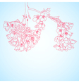 Outline cherry flowers vector