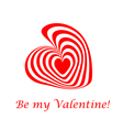 Design valentines day card with striped red heart vector