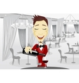 Smiling waiter pouring wine into glass vector