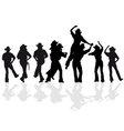 Cowboy dance silhouette vector