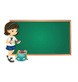 A girl and a green board vector