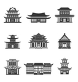 Chinese house icons black vector